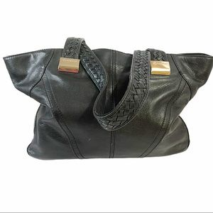 B. Makowsky Black Pebbled Leather Satchel Handbag